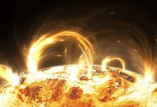 An artists rendering of stars and solar flares. Shutterstock.