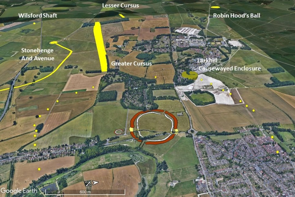 The monument is located not far from Stonehenge and measures around 2 km. in diameter. Image Credit: AAP.