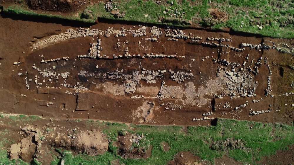 Aerial view of the excavations at the archaeological site of Stöð. Image Credit: Bjarni Einarsson.