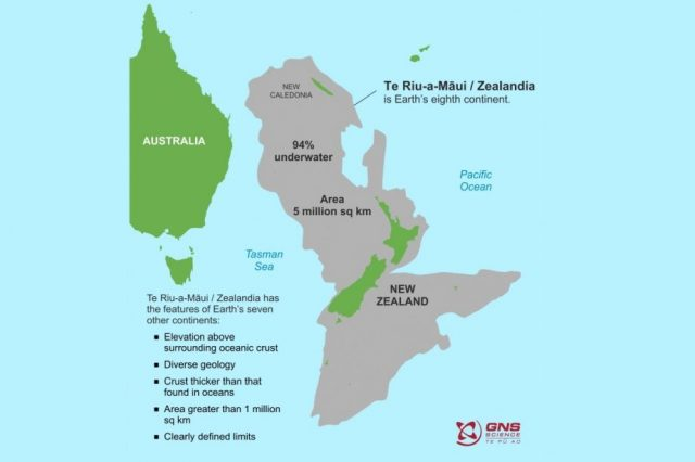 A map showing the countries of Australia, New Caledonia and New Zealand, as well as the continent of Zealandia, Earth's eighth continent.
