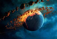 An artists rendering of asteroids surrounding a young planet. Jumpstory.