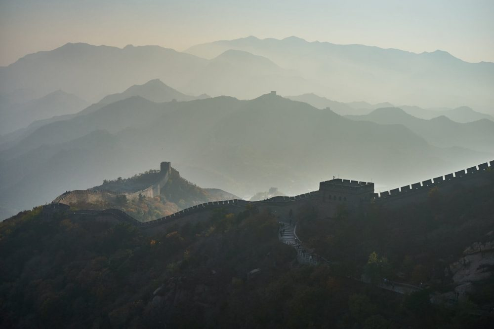 The Great Wall of China seen in the distance. Jumpstory.
