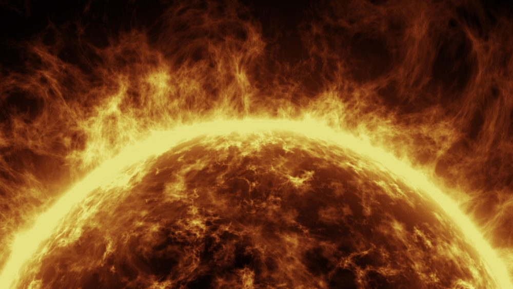An illustration of the sun and its powerful solar flares. Jumpstory.