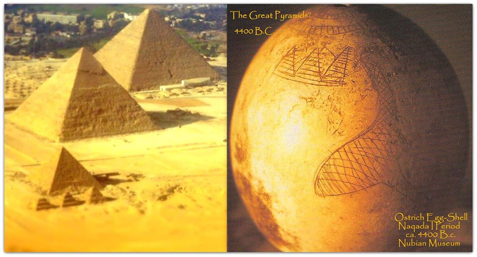 An ostrich egg and the pyramids. Facebook/The Secrets of the Great Pyramid.