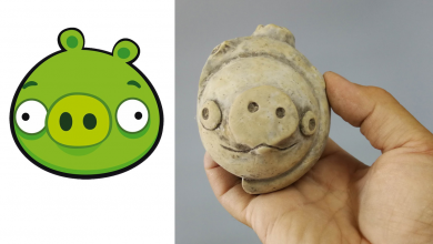 An image showing the recently discovered figurine and the character from the popular game angry birds. Image Credit: Twitter.