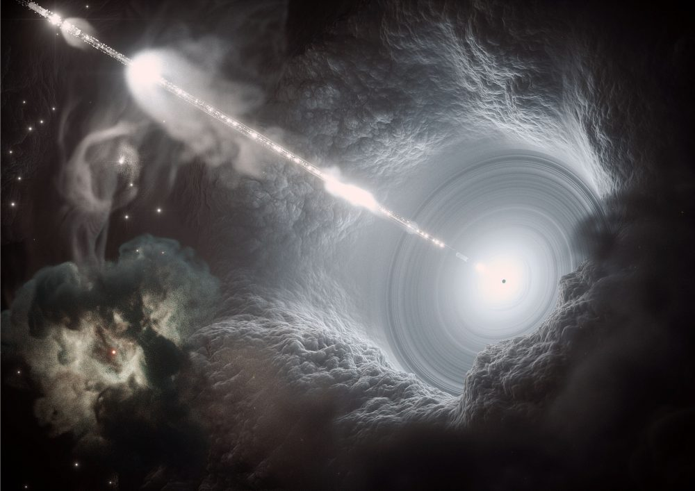 An artists visualization of an active galactic nucleus. Image Credit: DESY, Science Communication Lab.