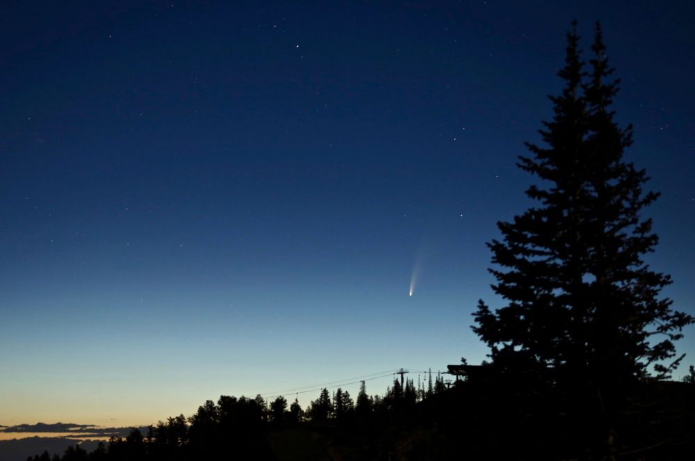 An image of comet C/2020 F3 photographed low in the morning sky on July 7. Credit: NASA/Bill Dunford.