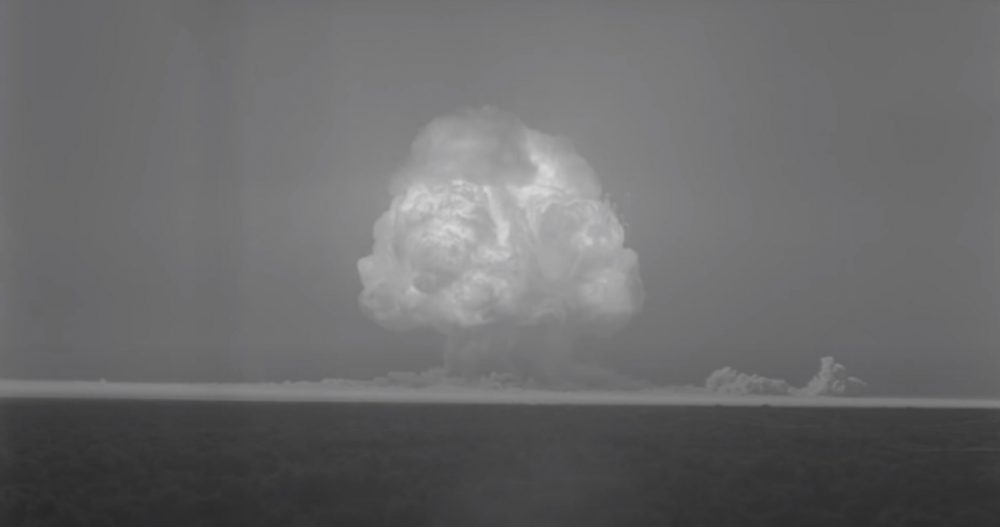 A screenshot of the video showing the detonation of project Trinity. YouTube / Atomcentral.