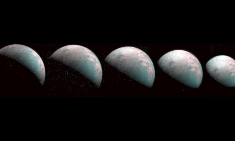 A series of infrared images taken by the Juno spacecraft provide the first glimpse of Ganymede's icy north pole. Image Credit: NASA/JPL-Caltech/SwRI/ASI/INAF/JIRAM.