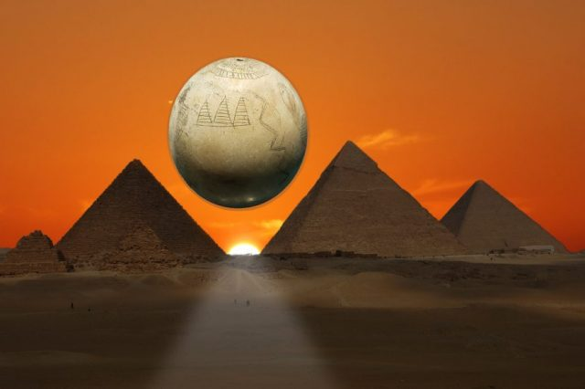 An illustration showing the Ostrich egg allegedly depicting the pyramids, and the Giza pyramids in the background. Image Credit and elements: Shutterstock / Curiosmos.