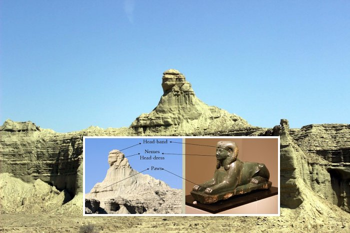 A view and comparison of the Balochistan Sphinx, and Egypt's Great Sphinx. Image Credit: Ancient Inquiries.