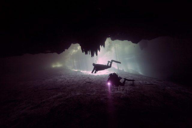 An image of divers exploring a sunken site. Shutterstock.