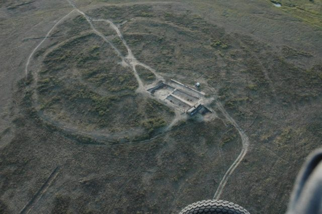 An aerial view of the ancient ruins of Arkaim. Image Credit: Wikimedia Commons.