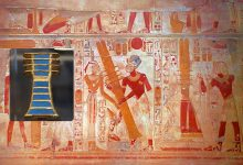 An ancient Egyptian mural showing a djed pillar. Curiosmos.