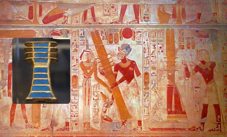 An ancient Egyptian mural showing a djed pillar. Curiosmos.
