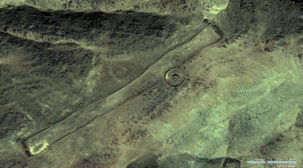 An aerial view of the massive stone monuments. Image Credit: Google Maps.