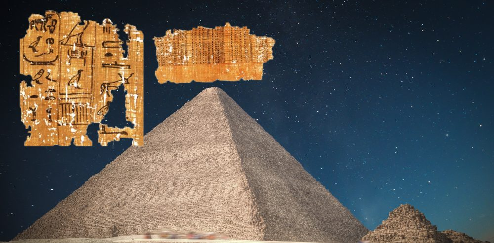A collage of the Merer's Diary and the GReat Pyramid of Giza. Shutterstock / Curiosmos.