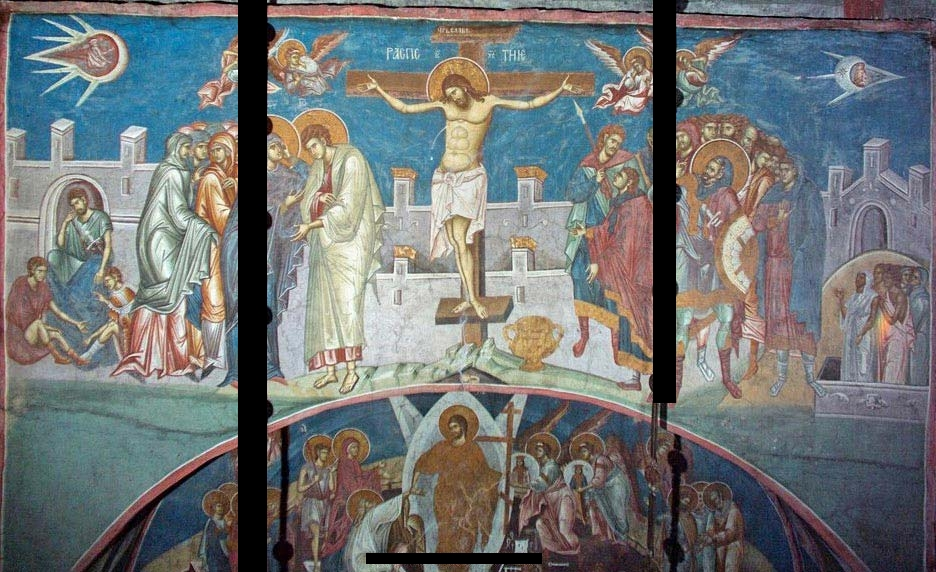 The painting Crucifixion of Christ located at the Visoki Dečani Monastery. Image Credit: Wikimedia Commons.