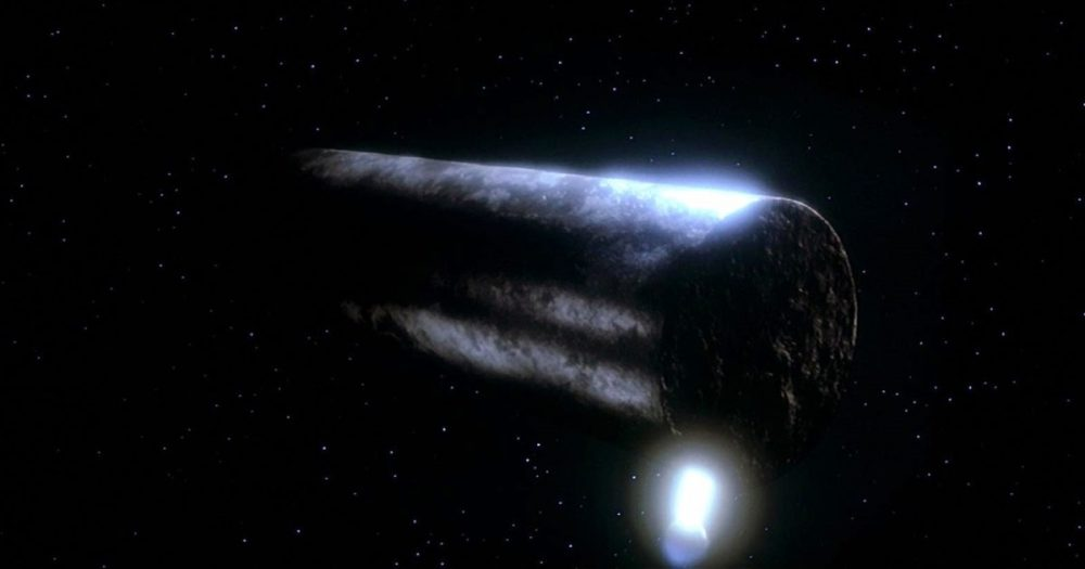 """Screenshot of """"The Voyage Home."""" Is this what Oumuamua looks like? Image Credit: Paramount Pictures."""