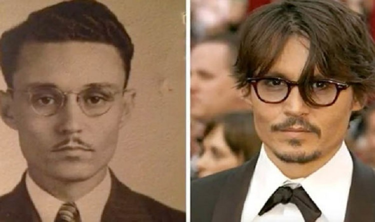 A man that looks like Johnny Depp to the left, and the actor to the right. Still, it doesn't prove much other than there are some people who like other people. Period.