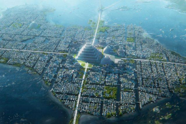 Tenochtitlan city design by Leon Tukker. Artstation.