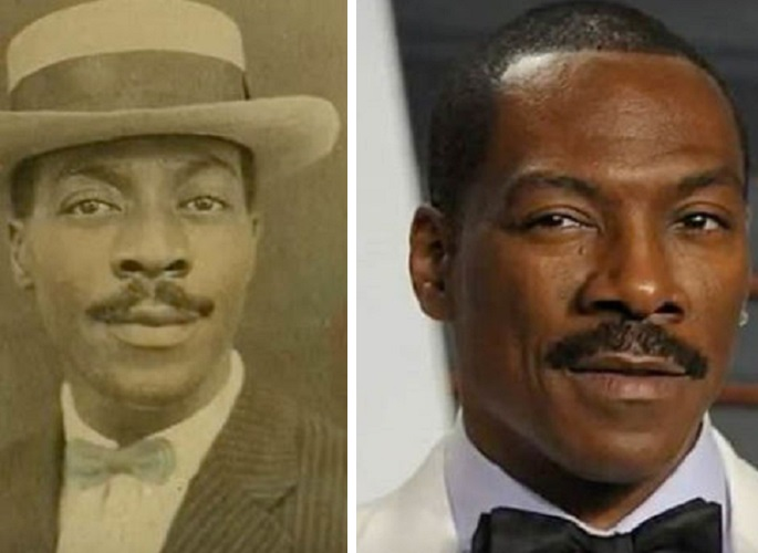 An Image of Eddie Murphy and a man who lived in the 1920's.