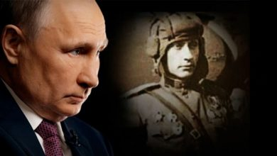 A collage showing Putin and an alleged World War I soldier that supposedly looks just like him.