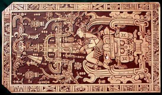 An image showing the iconography of Pakal's sarcophagus lid.