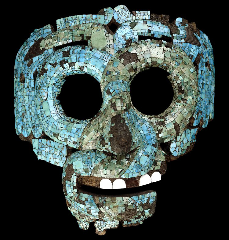 A mosaic serpent mask depicting either Quetzalcoatl (most likely) or the rain god Tlaloc. Image Credit: British Museum.