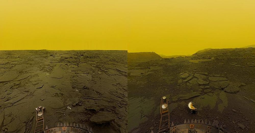 The surface of Venus photographed by the Soviet Venera mission.