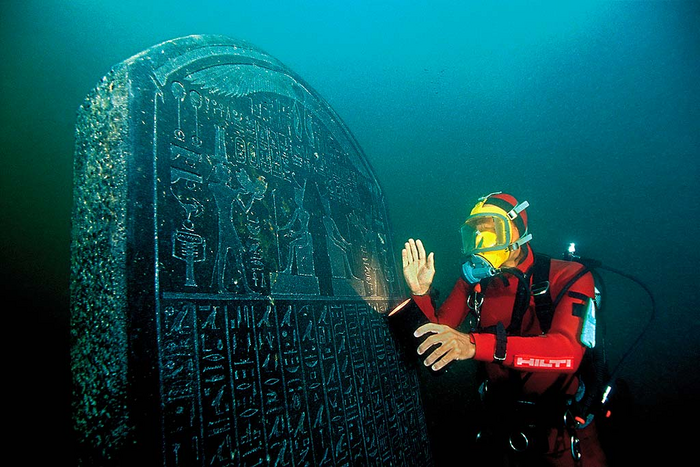 The engraved stele found underwater that revealed that Thonis and Heracleion were actually the same city, commissioned between 378-362 BC by pharaoh Nectanebo I.