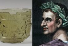 Emperor Tiberius and an ancient glass, similar to the one from the myth.