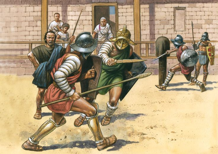 Illustration of Gladiators training in a gladiator school.
