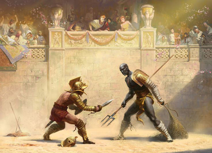 Illustration of a Gladiator of the Retiarius class in the middle of a fight.