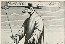 "Part of a Satirical engraving called ""Doctor Beaky from Rome"" although plague doctors did not particularly exist during the days of the Roman Empire."