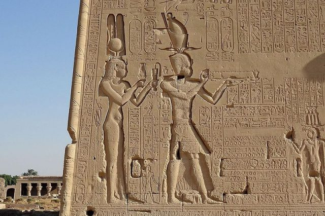Cleopatra and Caesarion, relief at the Dendera Temple