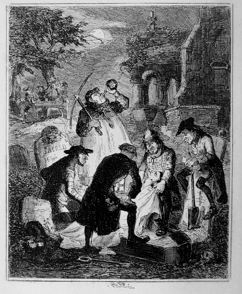 Illustration from 1847 by Hablot Knight Browne depicting resurrectionists.