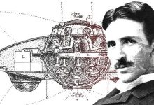 An illustration of a UFO design and Nikola Tesla.