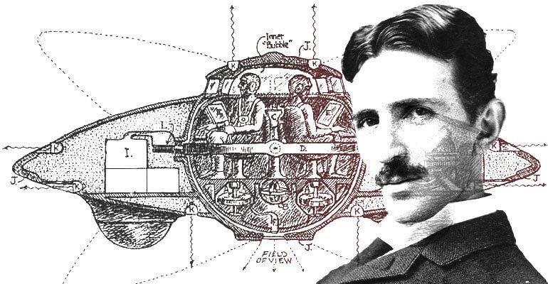 An illustration of a UFO design and Nikola Tesla.