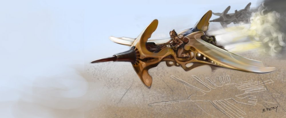 A mythological flying machine depicted above the Nazca Lines. Image Credit: B Petry.