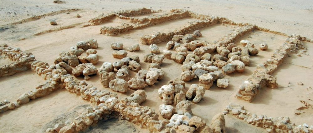 The anchors found in the harbor of Wadi el-Jarf carefully arranged in circles.