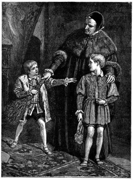 """""""Edward VI and his Whipping Boy"""". Oil painting by Walter Sydney Stacey from 1882."""
