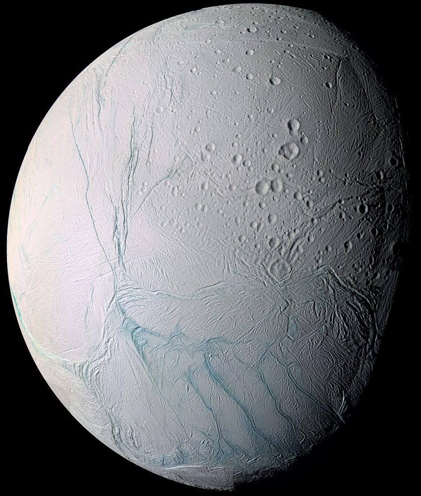 This image was captured by the Cassini spacecraft as it flew past Enceladus on July 14, 2005. Image Credit: NASA/JPL/Space Science Institute.