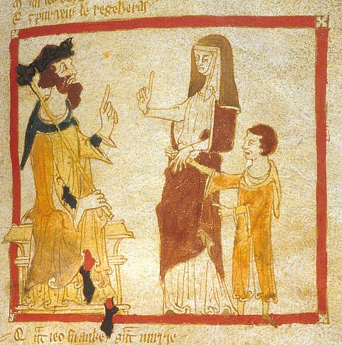 The Young Merlin with his mother when summoned by King Vortigern.