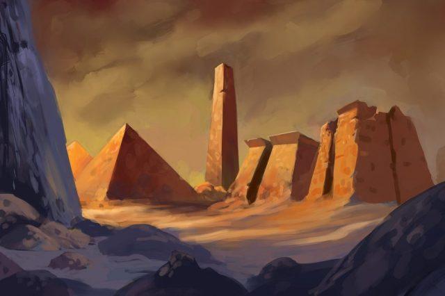 An artist's illustration of an ancient city. Shutterstock.