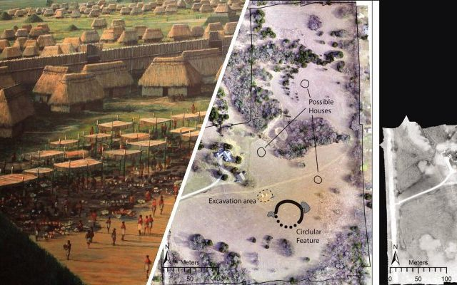 A collage showing an artist's rendering of an ancient North American city and the footage acquired by drones. Image Credit: Jesse Casana, Elise Jakoby Laugier, and Austin Chad Hill / Curiosmos.
