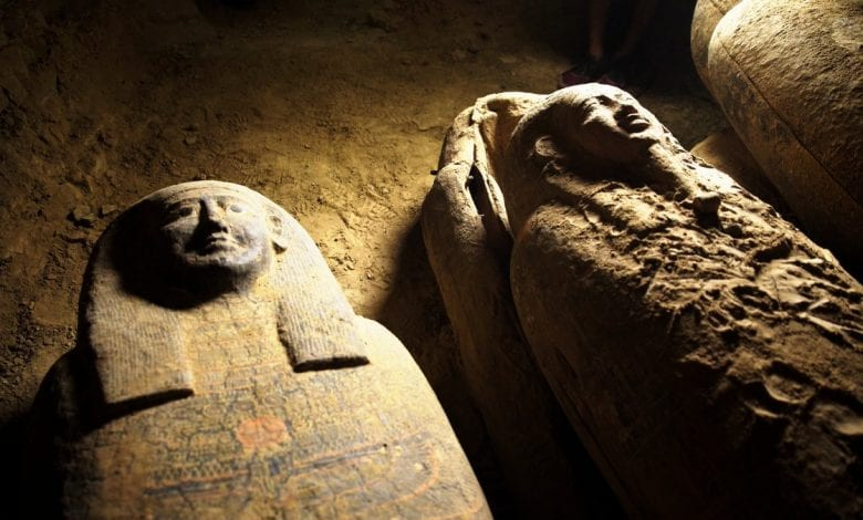 An image showing the recently discovered sarcophagi at Saqqara. Image Credit: Egypt Today.