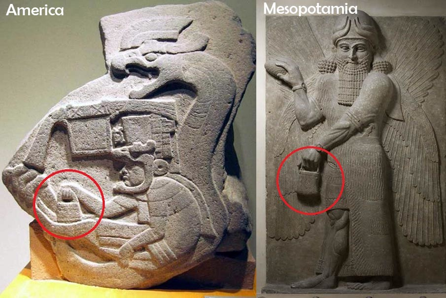 "An image showing the ""handbag"" of the gods present in both Mesoamerican and Mesopotamian motifs."