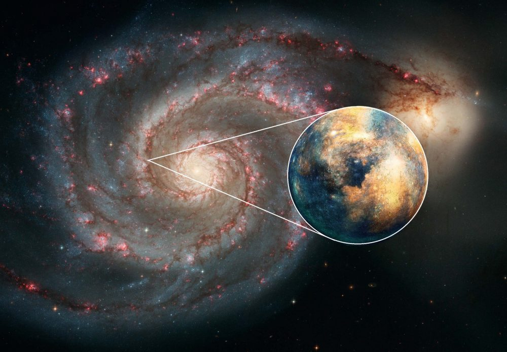 An image of the ;51 Whirlpool Galaxy and an artists rendering of an extragalactic planet. Image Credit: NASA / elements by Curiosmos.