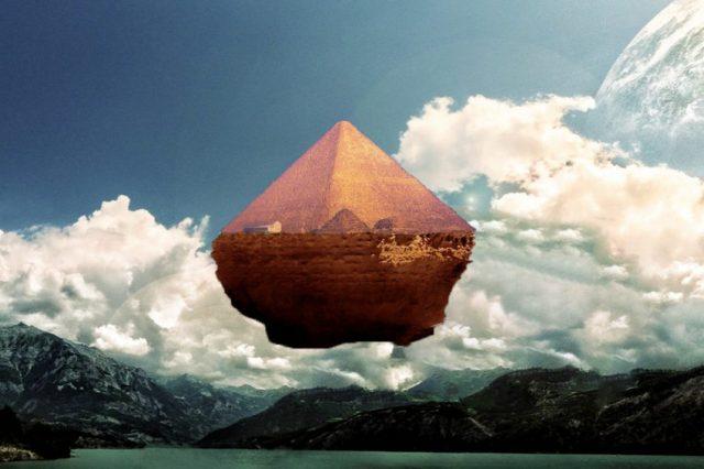 An artist's illustration of a floating pyramid. Curiosmos.
